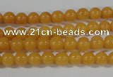 CYJ158 15.5 inches 4mm round yellow jade beads wholesale