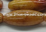 CYJ410 15.5 inches 18*45mm rice yellow jade gemstone beads