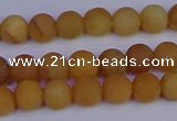 CYJ611 15.5 inches 6mm round matte yellow jade beads wholesale