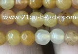 CYJ630 15.5 inches 4mm faceted round yellow jade beads wholesale