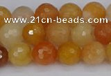 CYJ647 15.5 inches 8mm faceted round mixed yellow jade beads