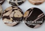 CZJ365 15.5 inches 25mm flat round zebra jasper beads wholesale