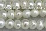 FWP16 14.5 inches 3.2mm - 3.7mm potato white freshwater pearl strands