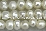 FWP17 14.5 inches 3.2mm - 3.7mm potato white freshwater pearl strands