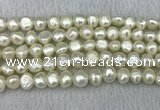 FWP245 15 inches 8mm - 9mm baroque white freshwater pearl strands