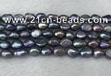 FWP282 15 inches 7mm - 8mm baroque black freshwater pearl strands