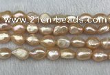 FWP290 15 inches 10mm - 11mm baroque pink freshwater pearl strands
