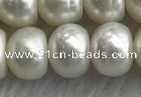 FWP326 15 inches 9mm - 10mm button white freshwater pearl strands
