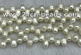 FWP340 Top-drilled 7mm - 8mm potato white freshwater pearl strands