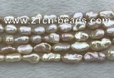 FWP355 8mm - 9mm baroque light purple freshwater pearl strands