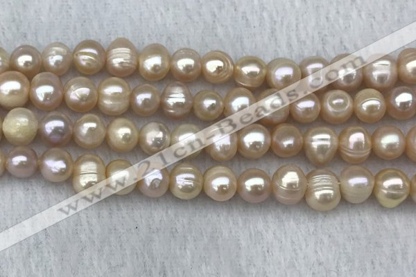 FWP68 15 inches 7mm - 8mm potato pink freshwater pearl strands