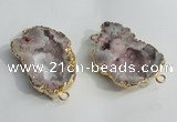 NGC137 30*40mm - 35*45mm freeform plated druzy agate connectors