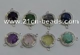 NGC5025 20mm flat round mixed gemstone connectors wholesale