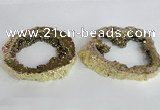 NGC521 45*50mm - 55*65mm freeform plated druzy agate connectors