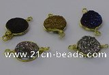 NGC5613 15mm - 16mm coin plated druzy quartz connectors wholesale