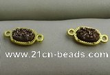 NGC6021 5*8mm oval plated druzy agate connectors wholesale