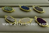 NGC6024 5*8mm oval plated druzy agate connectors wholesale