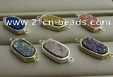 NGC6026 10*16mm oval plated druzy agate connectors wholesale