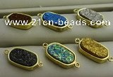 NGC6027 10*16mm oval plated druzy agate connectors wholesale
