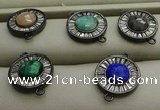 NGC6046 16mm coin mixed gemstone connectors wholesale