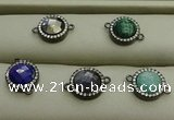 NGC6053 11mm coin mixed gemstone connectors wholesale