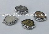NGC640 20*28mm - 25*30mm freeform plated druzy agate connectors