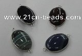 NGC75 22*30mm oval agate gemstone connectors wholesale