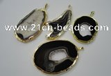 NGP1120 35*50 - 60*70mm freeform druzy agate pendants with brass setting