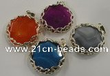 NGP1561 10*45*47mm flat round agate with brass setting pendants