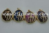NGP1565 8*40*50mm teardrop agate with brass setting pendants