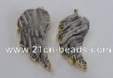 NGP1744 28*55mm - 30*65mm carved leaf druzy agate pendants