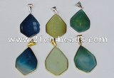 NGP1795 25*40mm freeform agate gemstone pendants wholesale