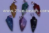NGP2063 15*40mm - 18*45mm arrowhead striped agate pendants