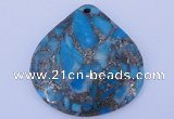 NGP237 40*40mm dyed golden turquoise & pyrite gemstone pendants