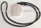 NGP5595 Rose quartz rectangle pendant with nylon cord necklace
