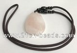 NGP5596 Rose quartz flat teardrop pendant with nylon cord necklace
