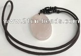 NGP5597 Rose quartz oval pendant with nylon cord necklace