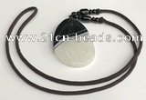 NGP5665 Agate flat teardrop pendant with nylon cord necklace