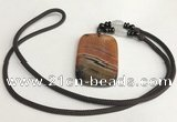 NGP5688 Agate rectangle pendant with nylon cord necklace
