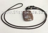 NGP5696 Agate rectangle pendant with nylon cord necklace