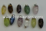 NGP6230 12*28mm - 15*30mm faceted bullet mixed gemstone pendants