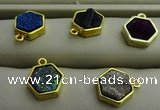 NGP7572 12*12mm hexagon plated druzy agate pendants wholesale