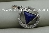 NGP7597 13mm coin lapis lazuli gemstone pendants wholesale