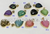 NGP9600 20mm faceted heart plated druzy agate pendants