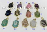 NGP9606 18*25mm faceted hexagon plated druzy agate pendants