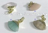 NGP9718 11*16mm fan-shaped  mixed gemstone pendants wholesale