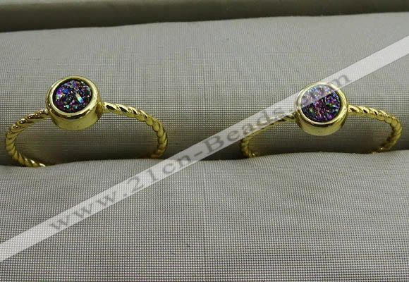 NGR1034 4mm coin plated druzy agate rings wholesale