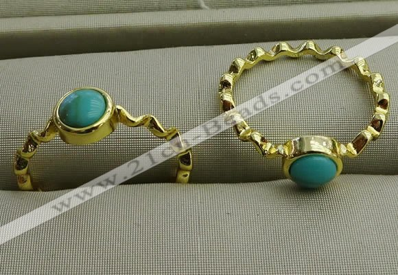 NGR1057 4mm coin synthetic turquoise rings wholesale