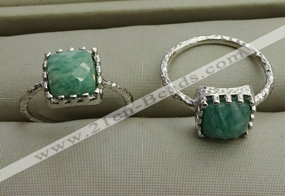 NGR1065 8*8mm square amazonite gemstone rings wholesale
