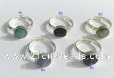 NGR1103 10mm faceted coin  mixed gemstone rings wholesale